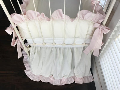 Porcelain and Baby Pink | Ruffled Crib Bedding Set