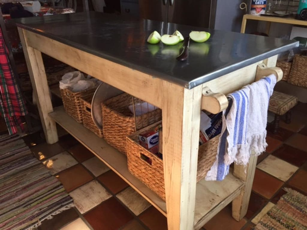 Rustic Zinc Top Kitchen Island