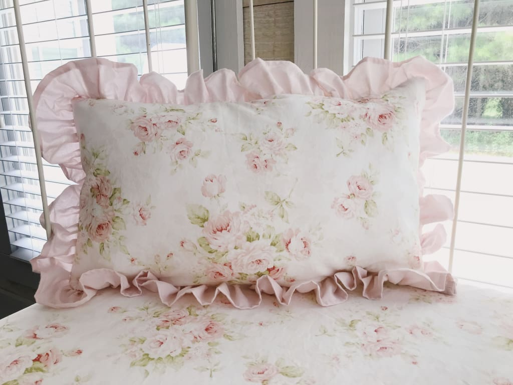 Shabby Chic Watercolor Floral | Ruffled Crib Pillow
