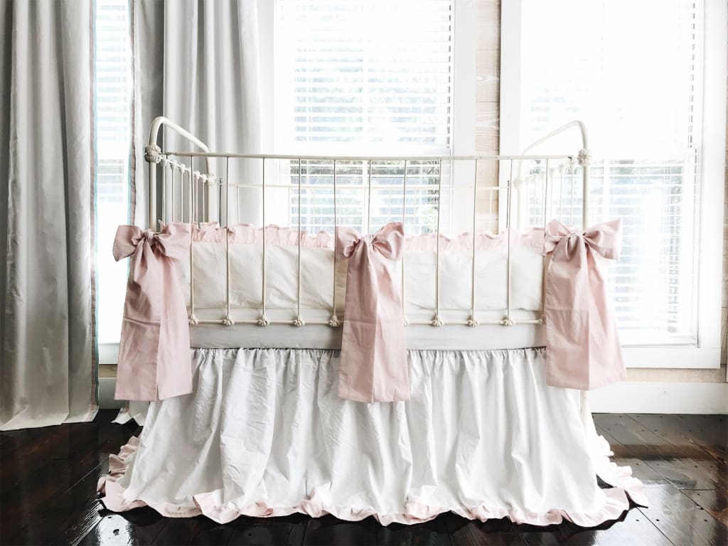 White and Baby Pink | Ruffled Crib Bedding Set