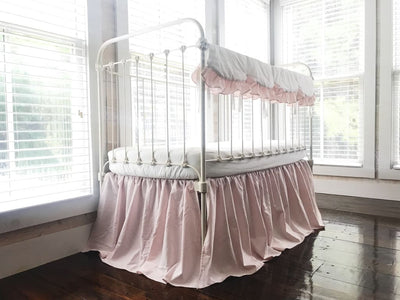 White and Baby Pink | Scalloped Crib Rail Cover Set