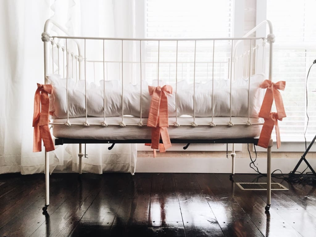 White and Coral | Ruffled Crib Bumpers