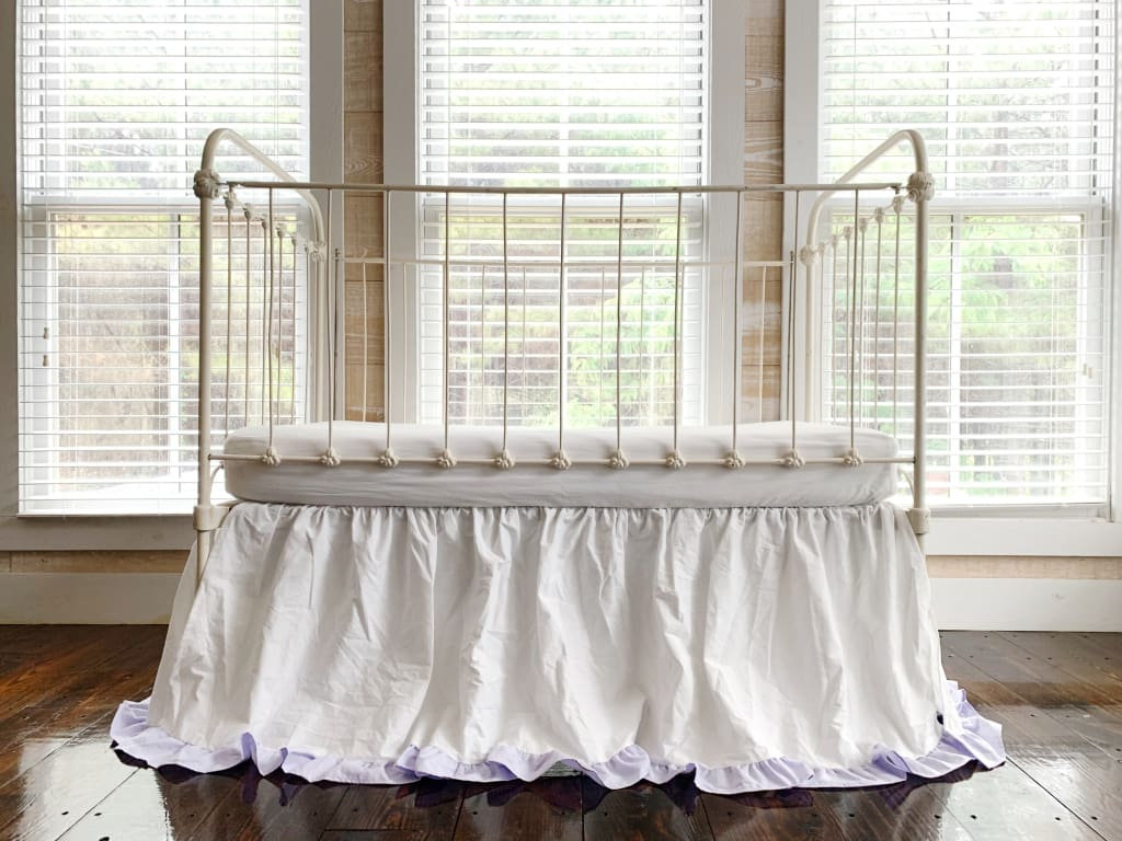 White and Lavender Ruffled Crib Skirt