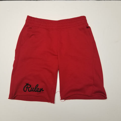 Red French Terry Script Shorts