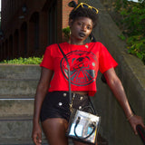 Red War Goddess Crop Top Tee