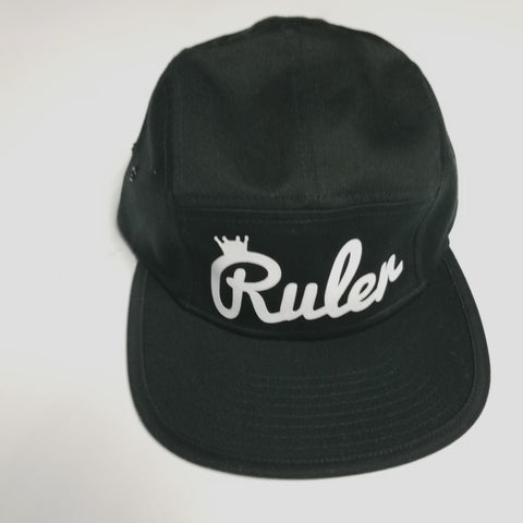 Black & White Script 5 Panel Camp Hat w/ Pin