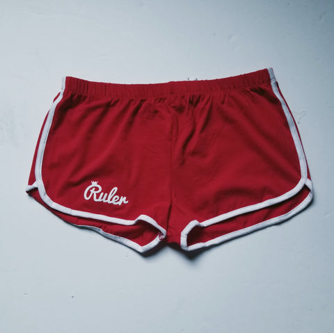 Red Script Dolphin Shorts