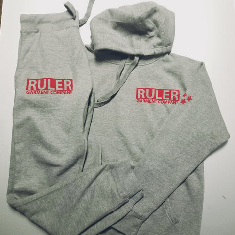 Grey Ruler Block Hoodie & Jogger Set