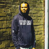 Navy Ruler Block Hoodie with 3M Reflective