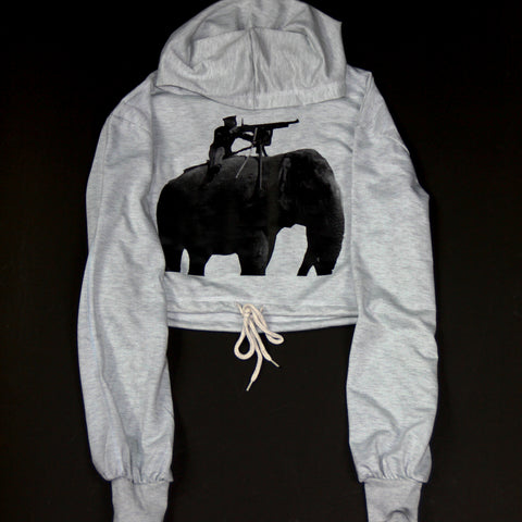 Grey Shooter on the Elephant Crop Top Hoodie