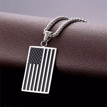 American Flag Dog Tag Pendant Necklace
