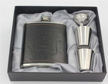 7oz Luxury SS Leather Hip Flask Gift Set