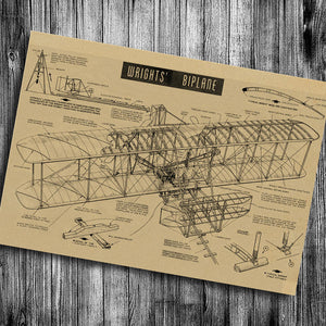 "Vintage Wright Brother's Bi Plane 17"" x 12"""