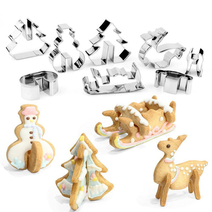 8pcs 3D Christmas Stainless Steel Cookie Cutter Set