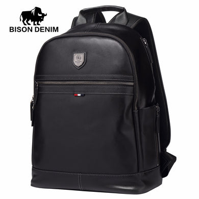 BISON DENIM Genuine Leather Business Backpack (15.6