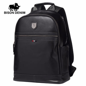 "BISON DENIM Genuine Leather Business Backpack (15.6"" Laptop)"