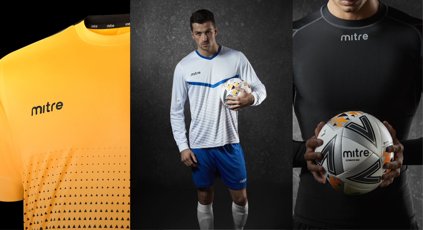 3 Mitre product images including footballs and teamwear. Page link to 2019/20 Mitre Teamwear.