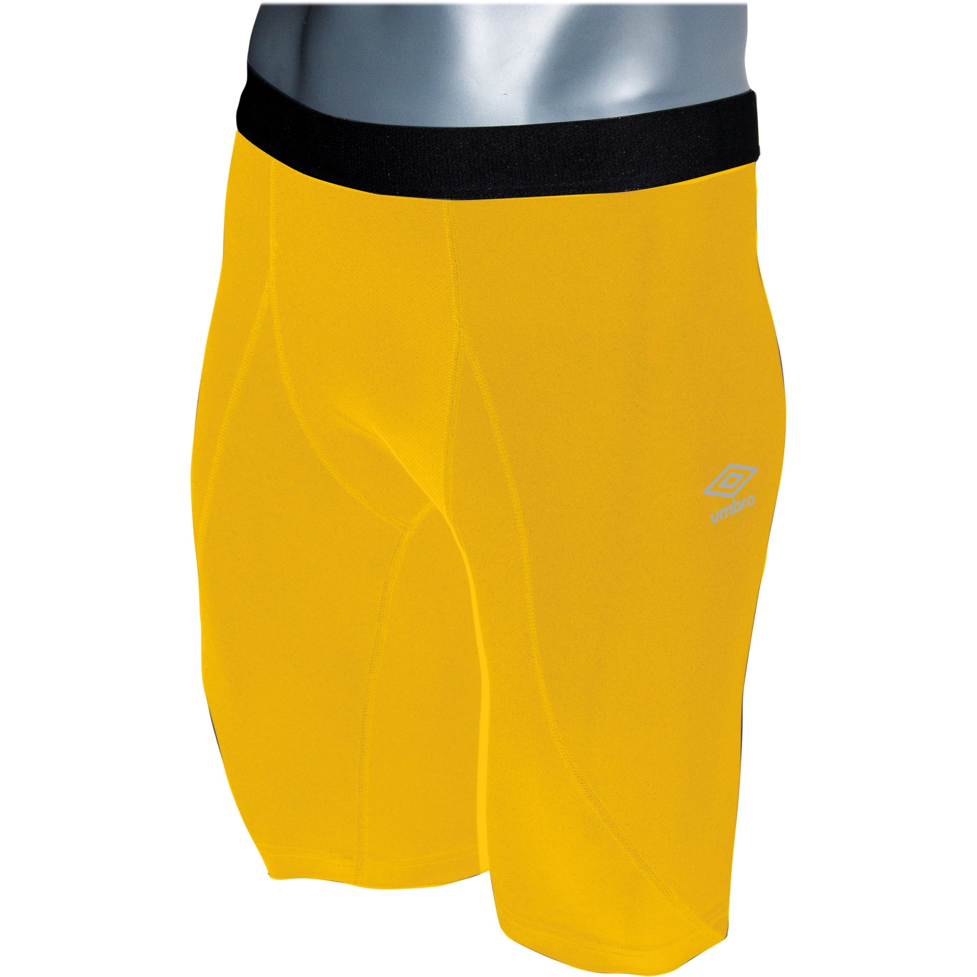 Umbro Elite Player Power Short in yellow with black waistband