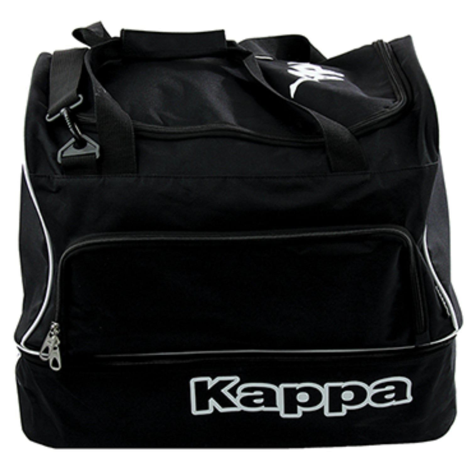 Kappa Moxio Italian player bag in black with compartment under the bag, white Kappa logo