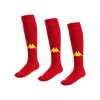 Kappa Penao high match sock in red with yellow knitted Omini on the shin