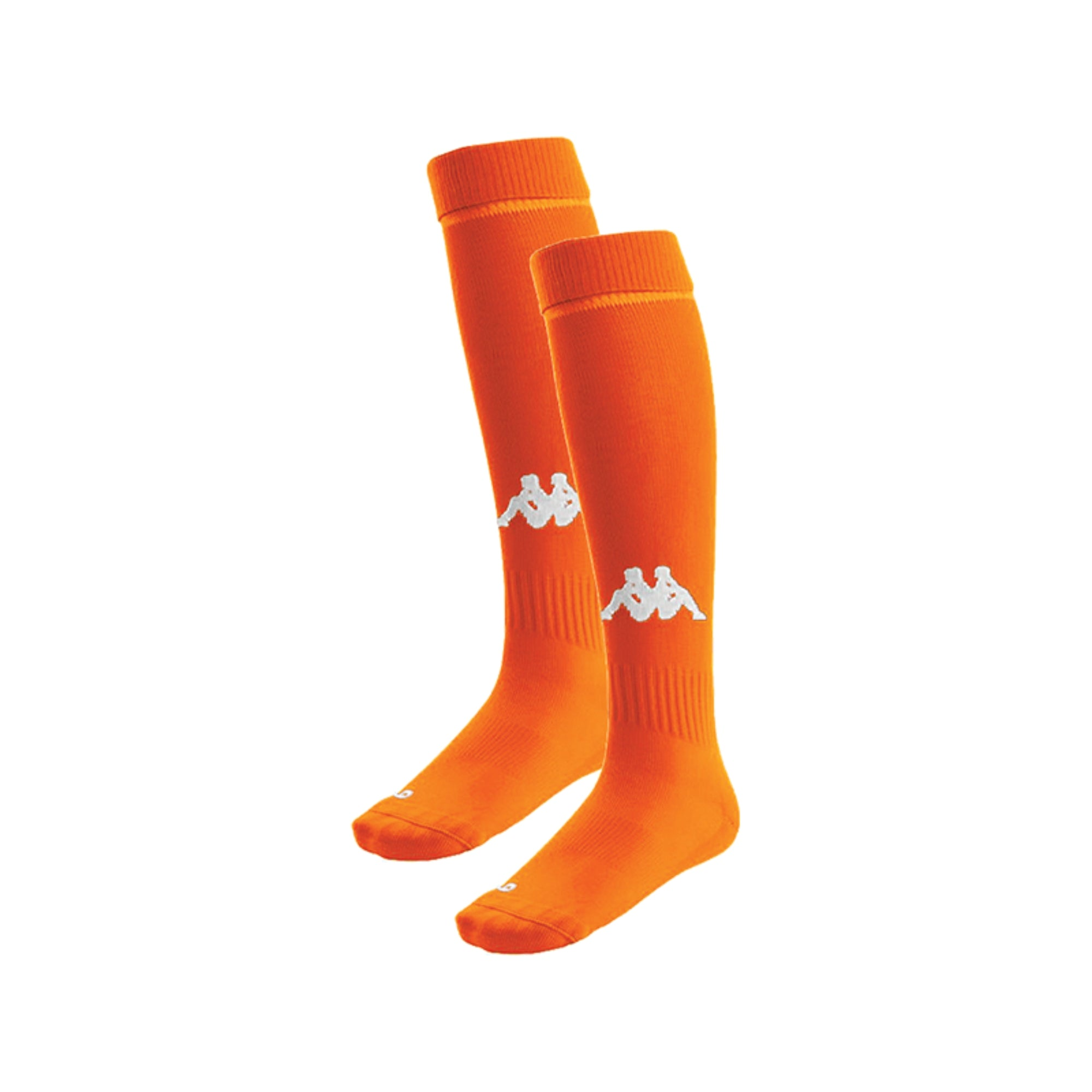 Kappa Penao socks in orange flame with knitted white Omini in the front shin area