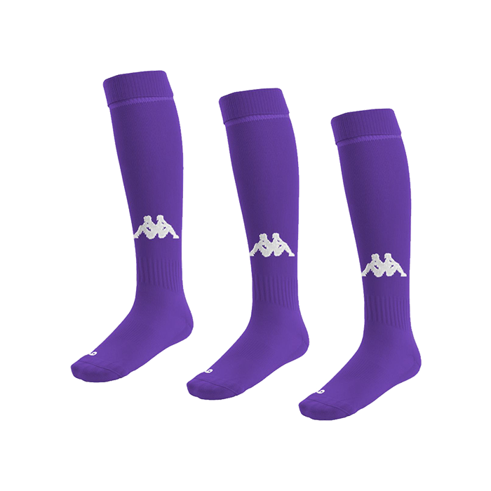 Kappa Penao high match sock in purple with white knitted Omini on the shin