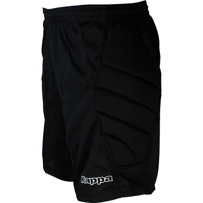 Kappa goalkeeper short in black with embroidered Kappa lettering on left leg