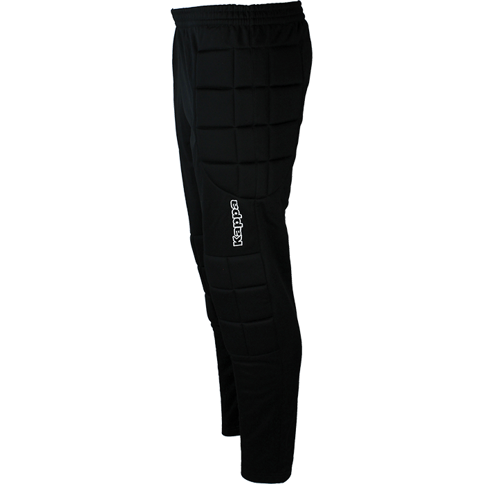 Kappa Goalkeeper pant in black with padded side panels and embroidered Kappa lettering down left leg