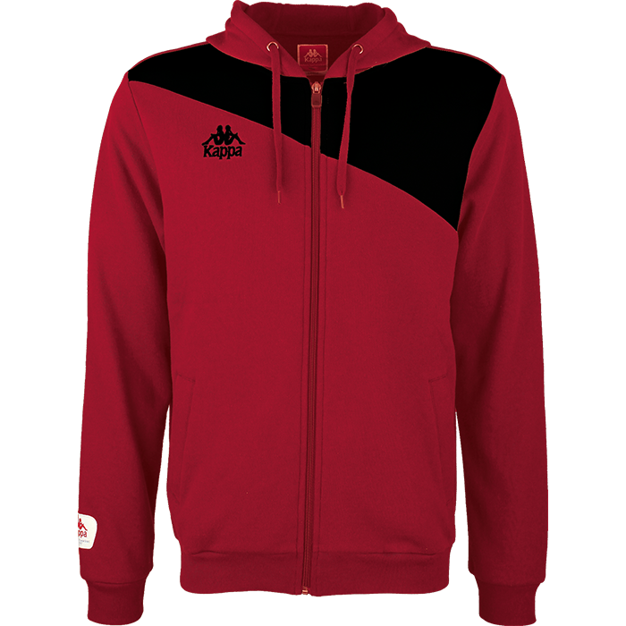 Kappa Pentone jacket in crimson red with black contrast across shoulders and authentic logo on the chest