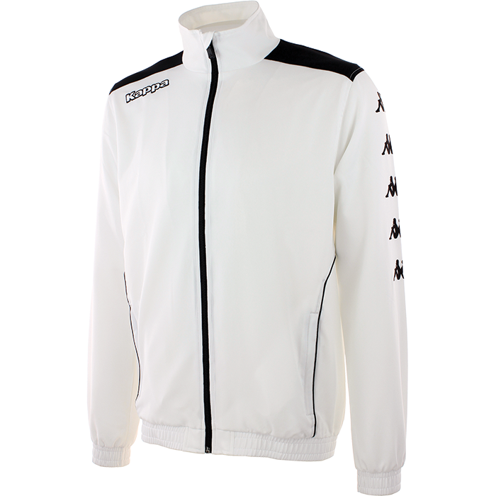 Kappa tiriolo tracktop in white with black contrast piping.