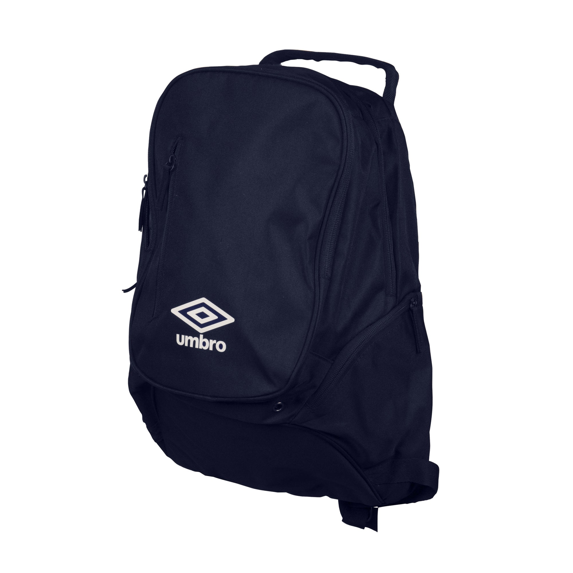 Umbro Large Backpack in navy with white Logo to the front. 2 side pockets.