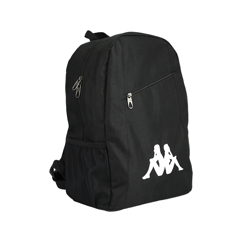 Kappa Velia backpack in black with large white Omini logo to the front. Zipped top opening, and front zip top pocket.