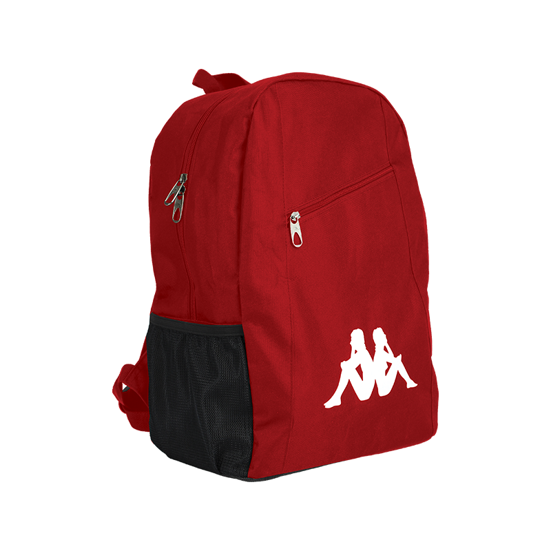 Kappa Velia backpack in red with large white Omini logo to the front. Zipped top opening, and front zip top pocket.