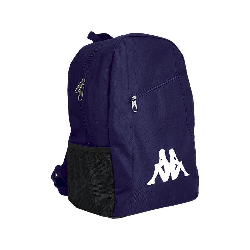 Kappa Velia backpack in blue marine with large white Omini logo to the front. Zipped top opening, and front zip top pocket.