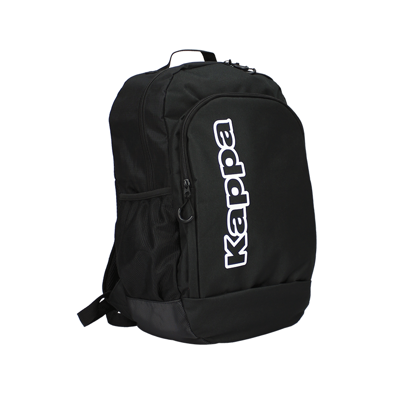 Kappa Lamberto backpack in black with large white vertical Kappa text logo on the front