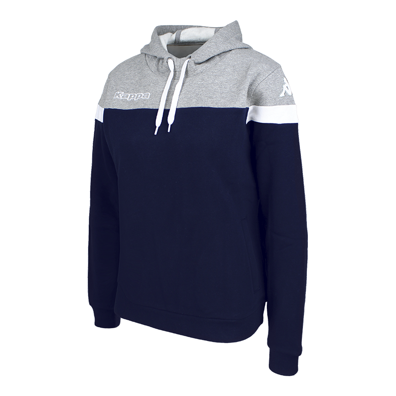 Kappa Accia Woman Hoody Sweat in blue marine (navy) with grey contrast shoulder and white sleeve ring.