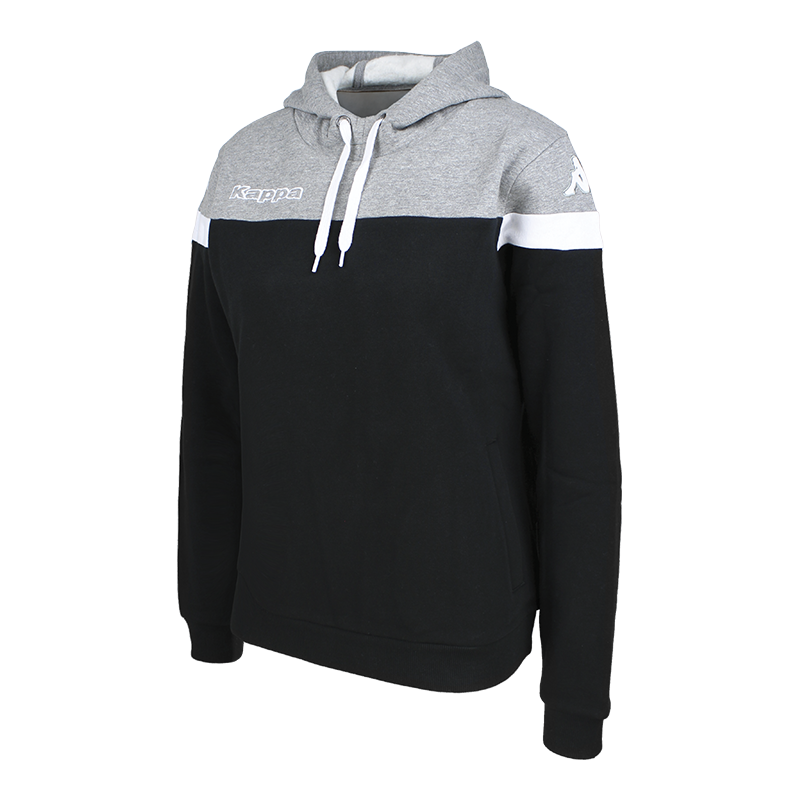 Kappa Accia Woman Hoody Sweat in black with grey contrast shoulder and white sleeve ring.