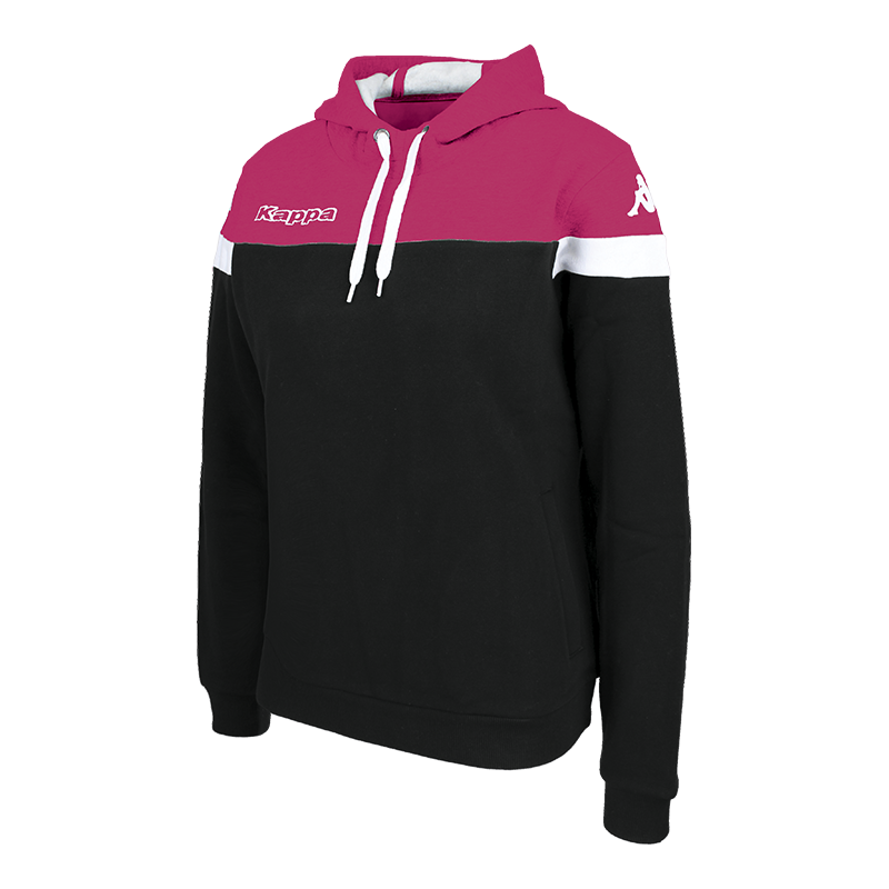 Kappa Accia Woman Hoody Sweat in black with fuchsia contrast shoulder and white sleeve ring.
