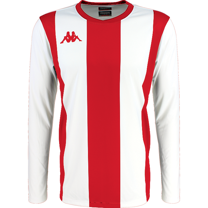 Kappa Caserne Match shirt in long sleeve with red and white stripes and red Omini logo printed on the chest