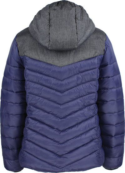 rear of Kappa Doccia womans padded jacket in blue marine and grey mel