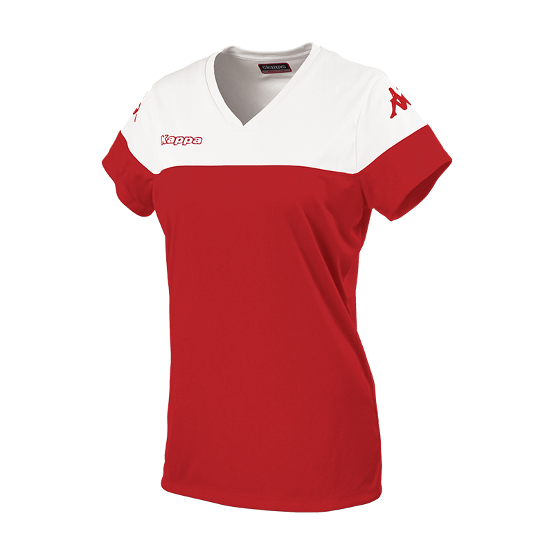 Kappa Mareta short sleeved shirt in red with white contrast shoulders