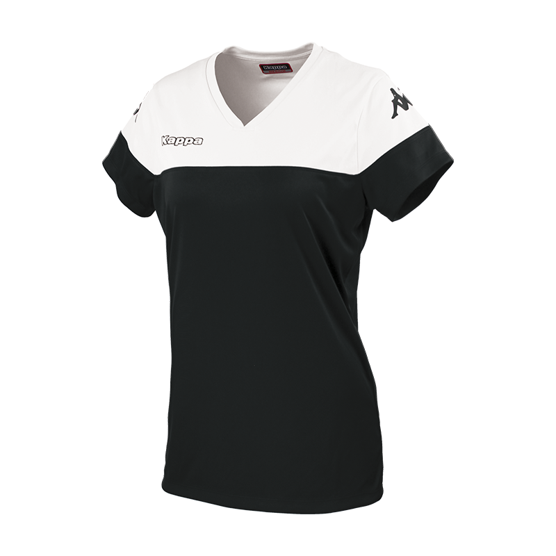 Kappa Mareta short sleeved shirt in black with white contrast shoulders