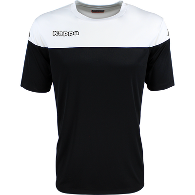 Kappa Mareto short sleeve shirt in black and white contrast shoulders and printed Kappa lettering on the chest