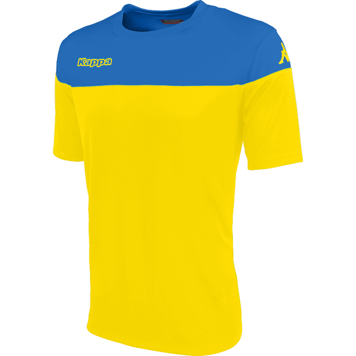 Kappa Mareto short sleeve shirt in yellow and blue nautic contrast shoulders and printed Kappa lettering on the chest