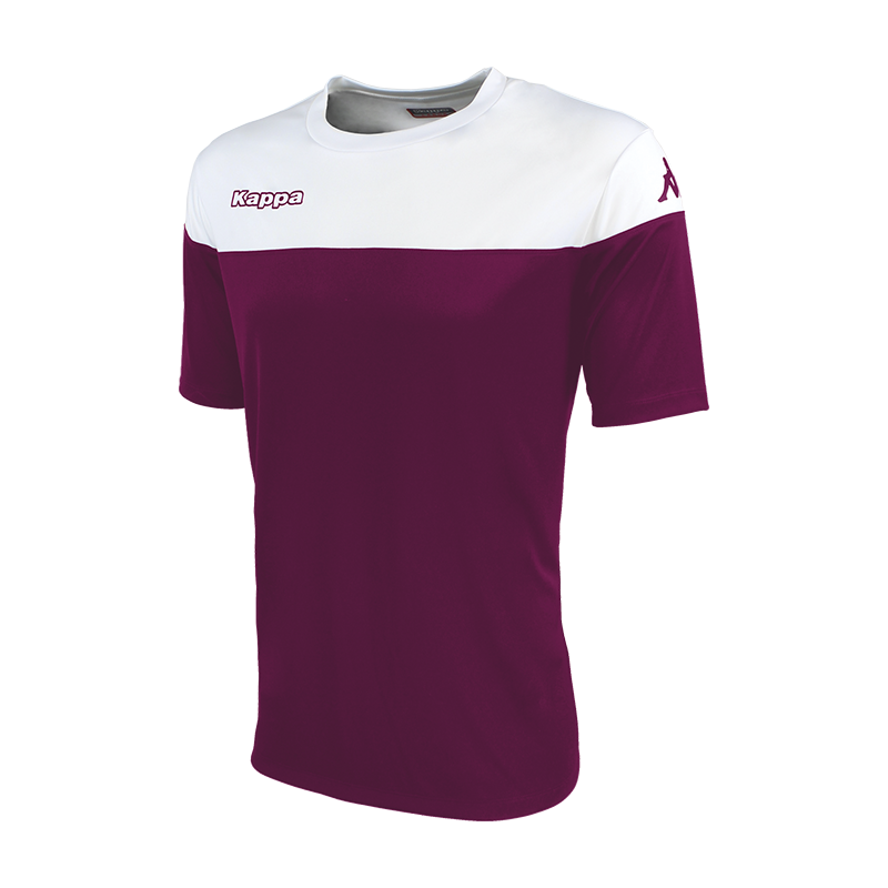Kappa Mareto short sleeve shirt in bordeaux (claret) and white contrast shoulders and printed Kappa lettering on the chest