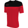 Kappa Mareto short sleeve shirt in red and black contrast shoulders and printed Kappa lettering on the chest