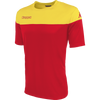 Kappa Mareto short sleeve shirt in red and yellow contrast shoulders and printed Kappa lettering on the chest