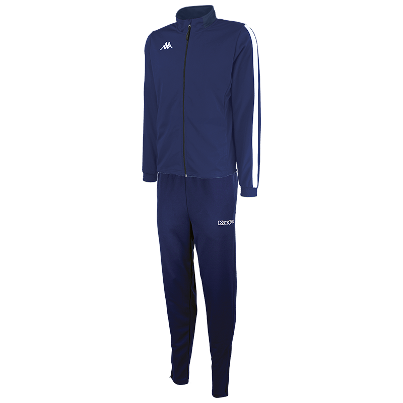Kappa Salcito tracksuit in blue marine (navy). White contrast mesh panel down the sleeve.