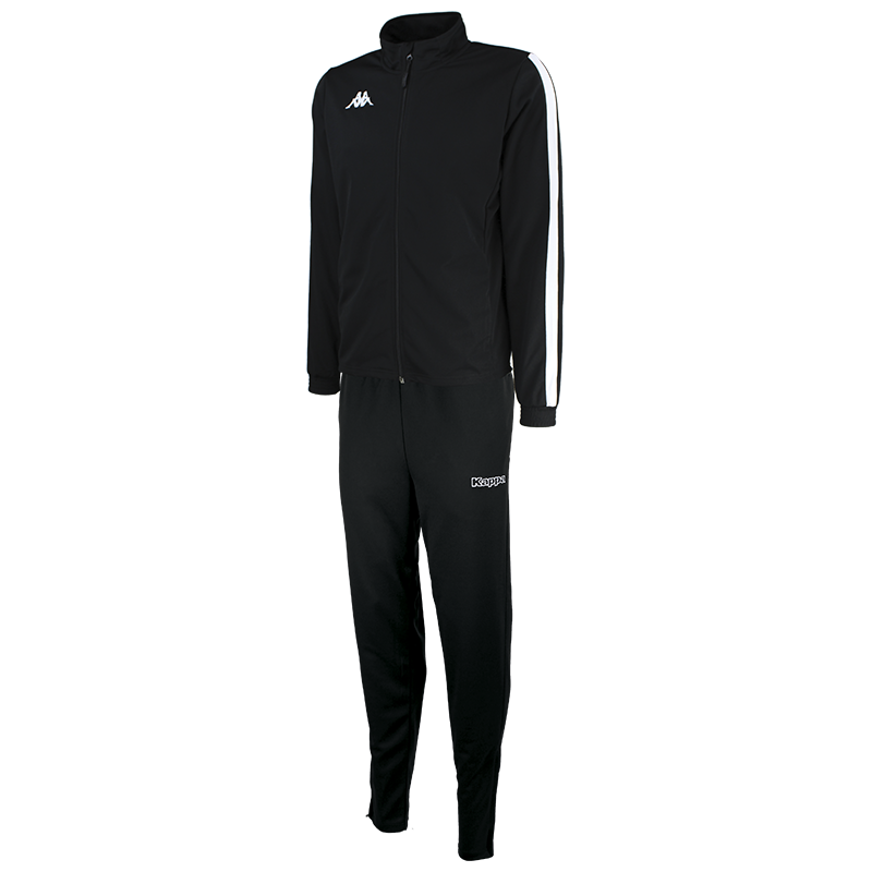 Kappa Salcito tracksuit in black. White contrast mesh panel down the sleeve.