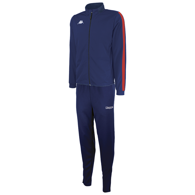 Kappa Salcito tracksuit in blue marine (navy). Red contrast mesh panel down the sleeve.